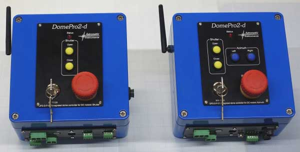 A pair of DomePro2-d for classic domes. One module controls dome azimuth motors for rotation and a second module controls dome shutter motors.